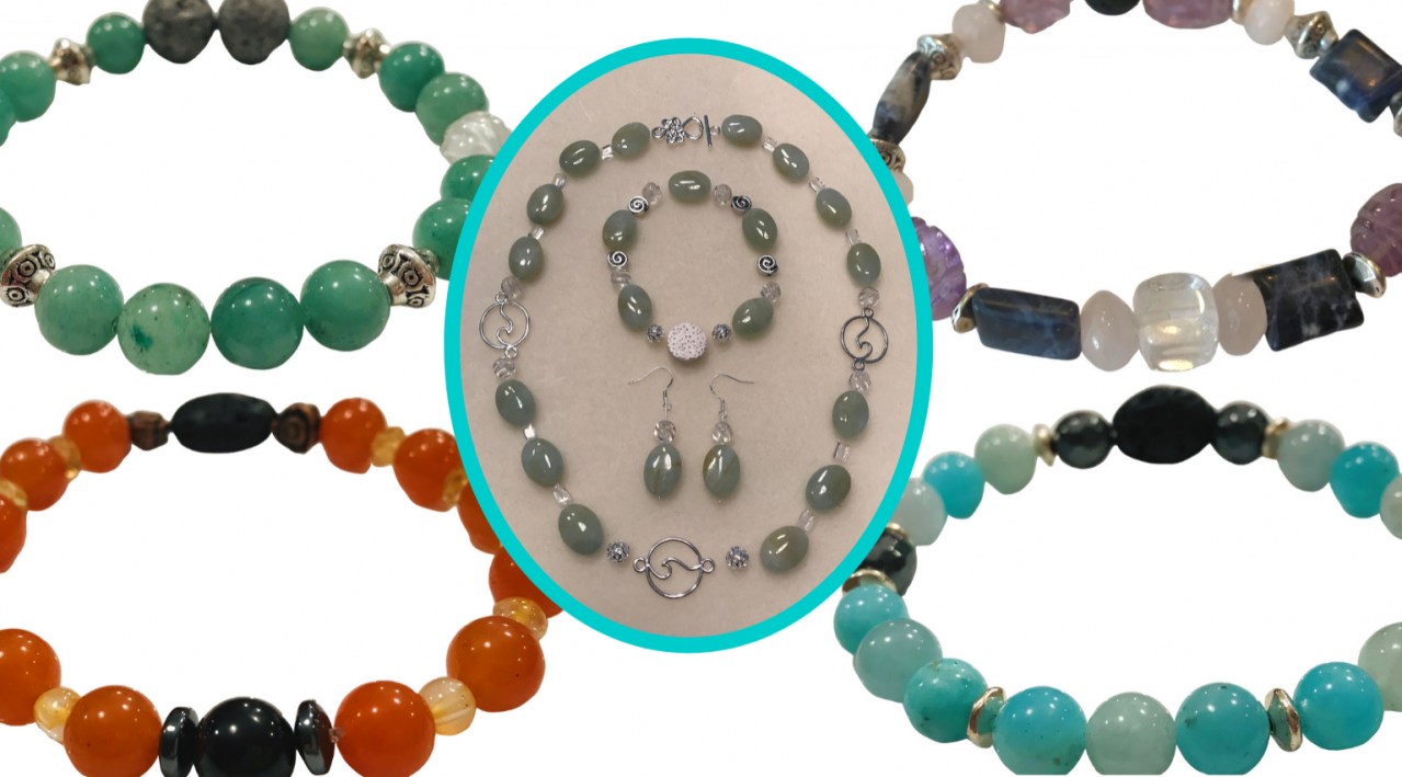 gemstone bracelets and necklace