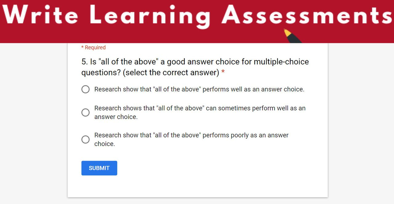 Write Learning Assessments