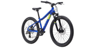 Bayview Trail front 3/4, gloss blue/hi-vis yellow