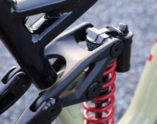 Detail of the one piece rocker link on the Alpine Trail mountain bike