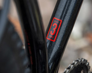 Detail image of the El Roy downtube, highlighting the Series 3 chromoly frame decal