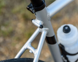 Detail image of the seatstay, seattube, and toptube cluster