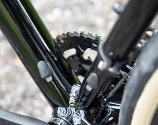 Downtube and seattube, showing ports where a dropper post cable could be run