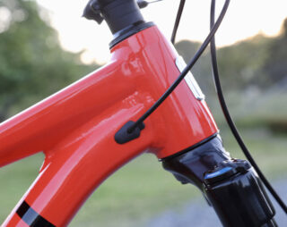Detail image of the San Quentin 3 headtube, showing the slack 65° headtube angle