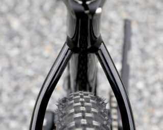 Detail shot that shows the lack of a bridge on the seatstays