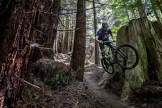 Marin rider Evan Mercure jumping between the trees on his Rift Zone 27.5 3.