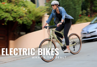 Lady riding electric bike on street