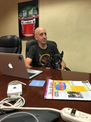 Chris Holmes at his desk at Marin HQ
