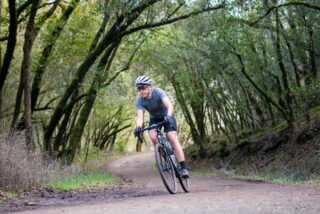 Gravel rider in a forest