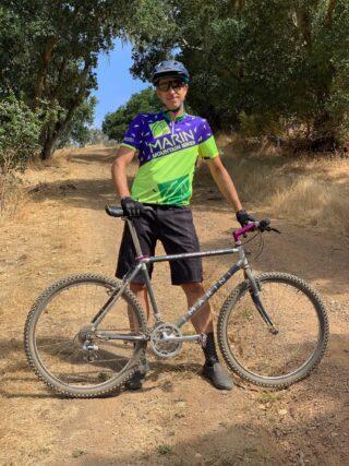 Chris Holmes with 1993 Marin Pine Mountain mountain bike