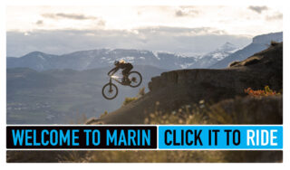 Marin Click It To Ride banner, with a mountain bike rider.