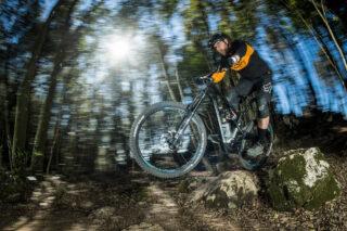 John Oldale riding Marin bike on rocks