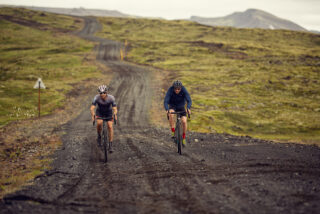 Two gravel riders on a dirt road in Iceland on Marin Bikes