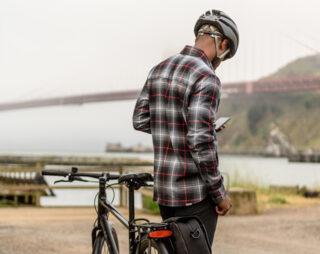 Man standing by Marin Bike by Golden Gate Bridge