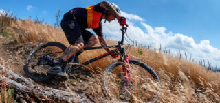 Marin rider AJ Jones descends a hill on an El Roy bike.