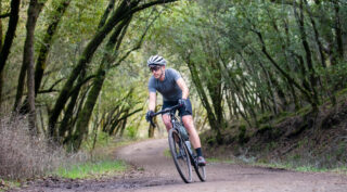 Gravel rider in forest
