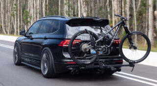 Modified VW Tiguan crossover, carrying a Marin Alpine Trail Carbon 2