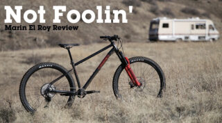 "Marin El Roy bike, propped up in a field with ""No Foolin', Marin El Roy Review"" copy"