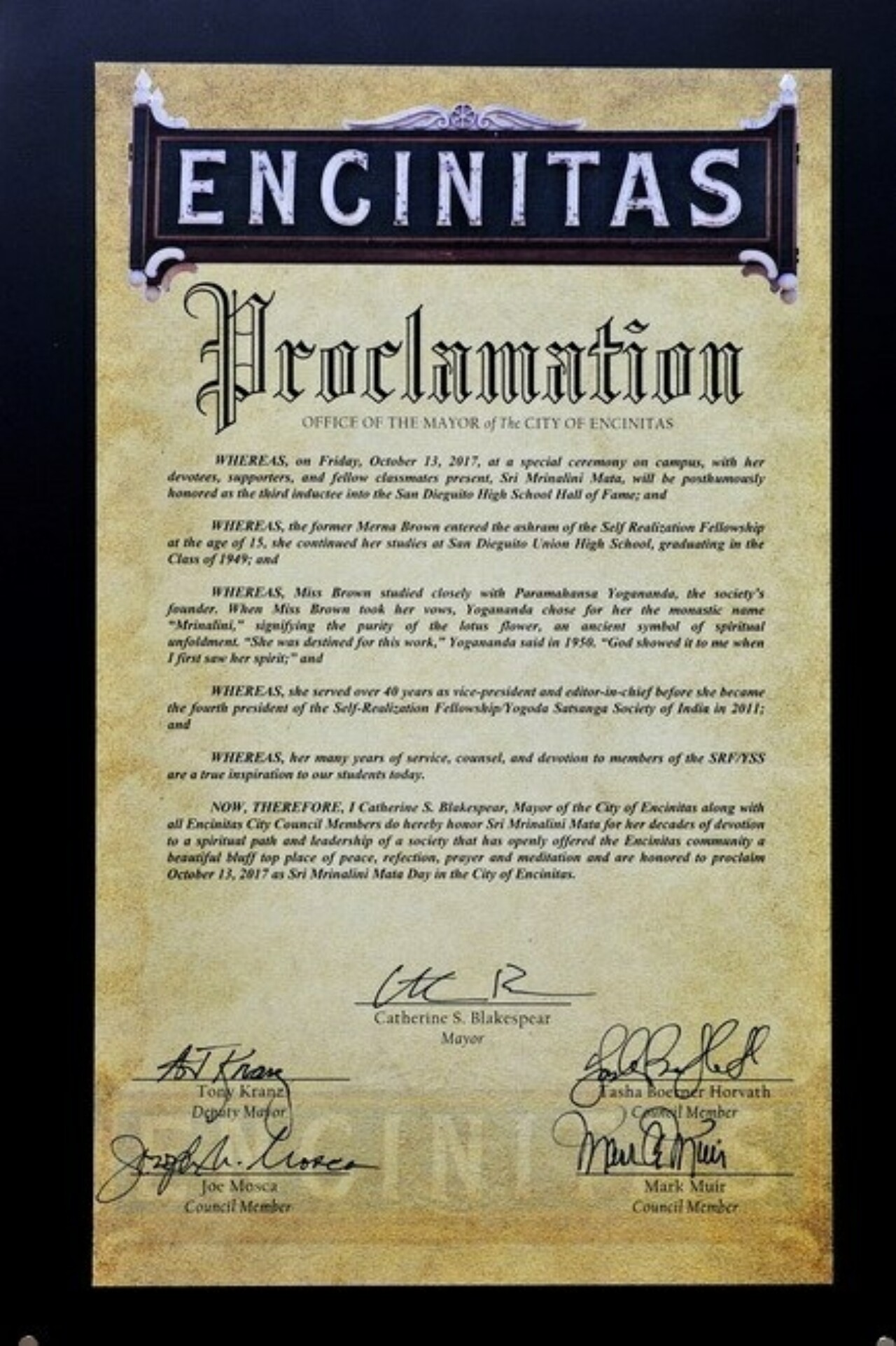Proclamation From The City Of Encinitas