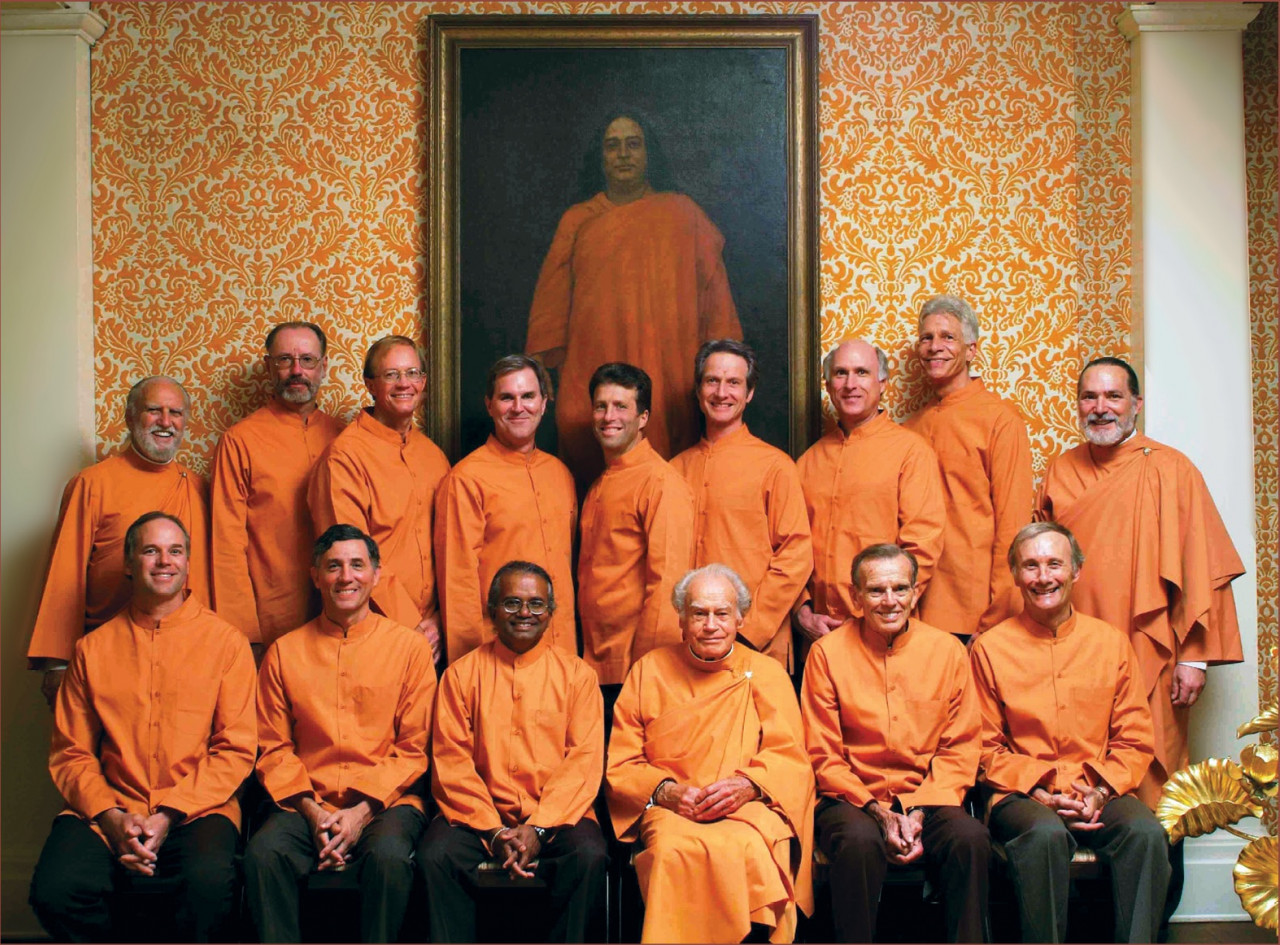 Sannyas Anandamoy With New Initiates Into The Swami Order