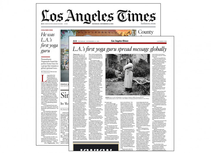 B La Times Features Article On Paramahansa Yogananda And The Srf Centennial