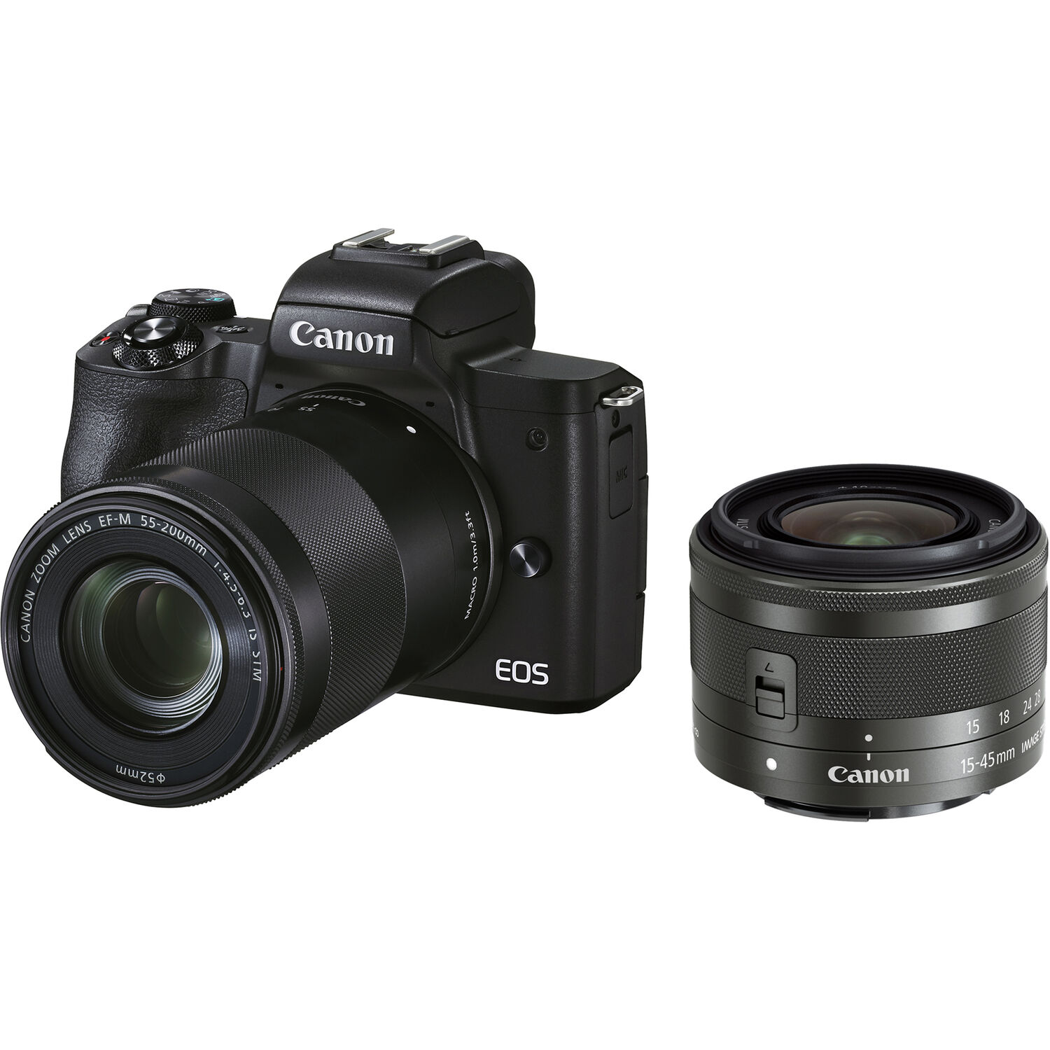Canon EOS M50 Mark II Mirrorless Digital Camera with 15-45mm and 55-200mm Lenses (Black)
