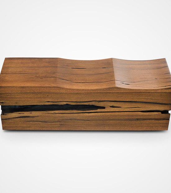Pequi Wood Two Seat Pedra Bench – Walnut Finish