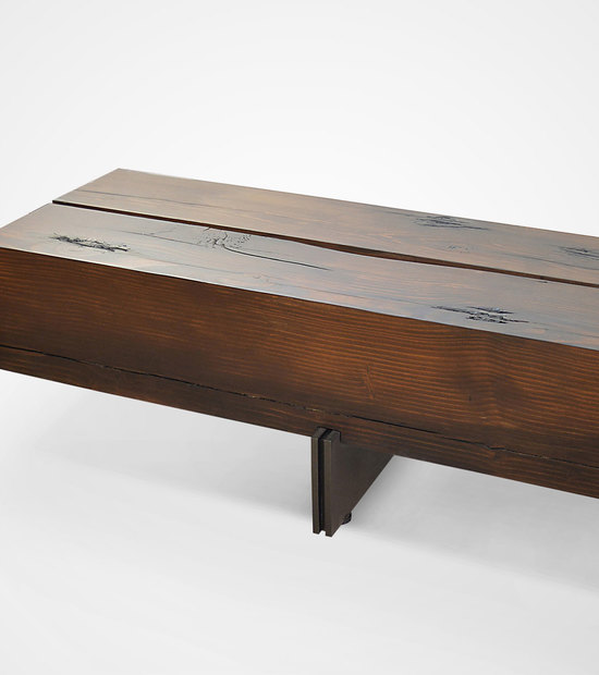 Contemporary Solid Wood and Metal Base Bench
