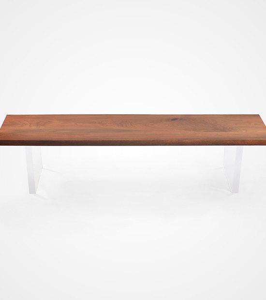 Solid Walnut & Acrylic Bench