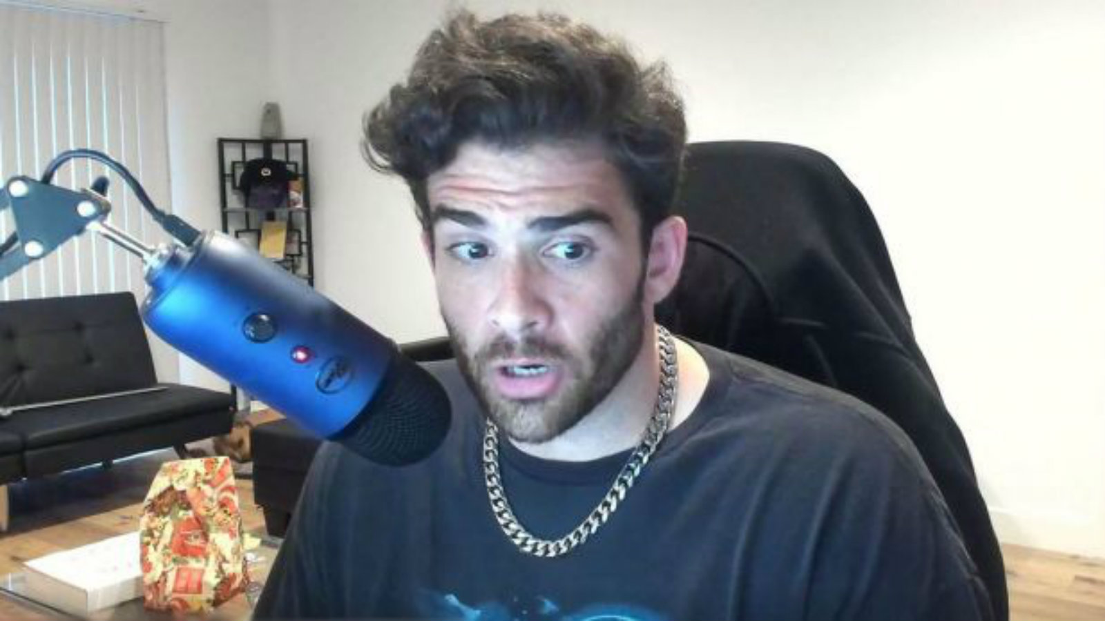 An image of Hasan Piker conducting a Twitch stream.
