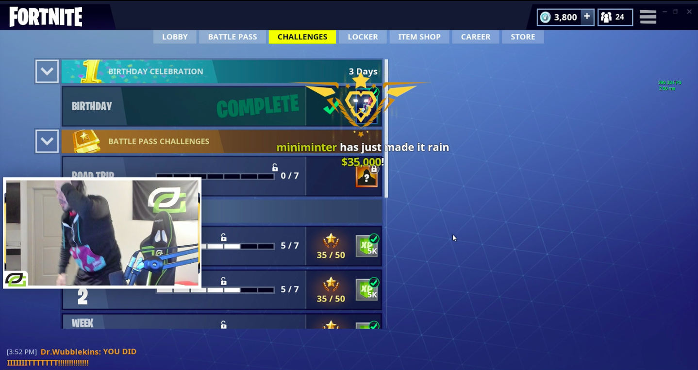 CourRage streaming Fortnite