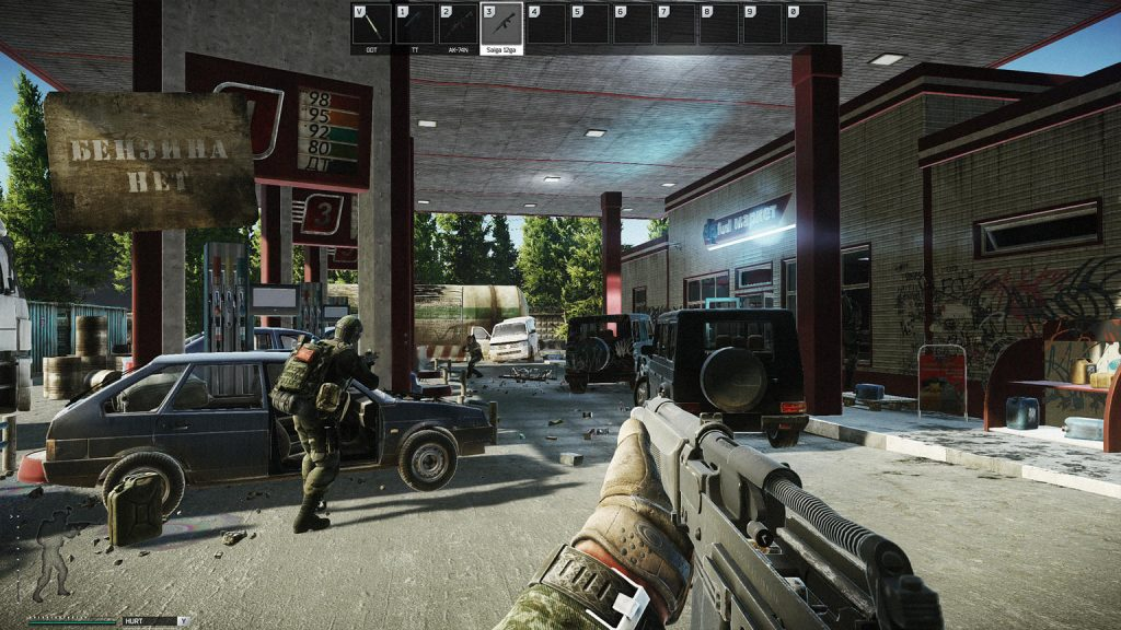 A player running into a gas station on Escape From Tarkov.