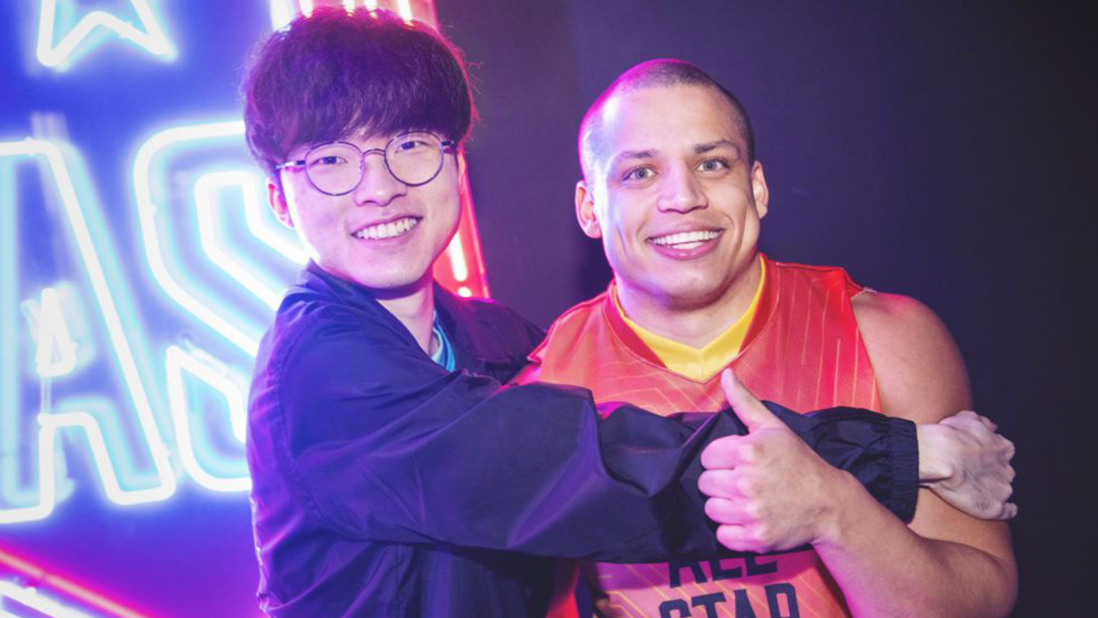 Faker hugging Tyler1 at League of Legends All-Stars 2019