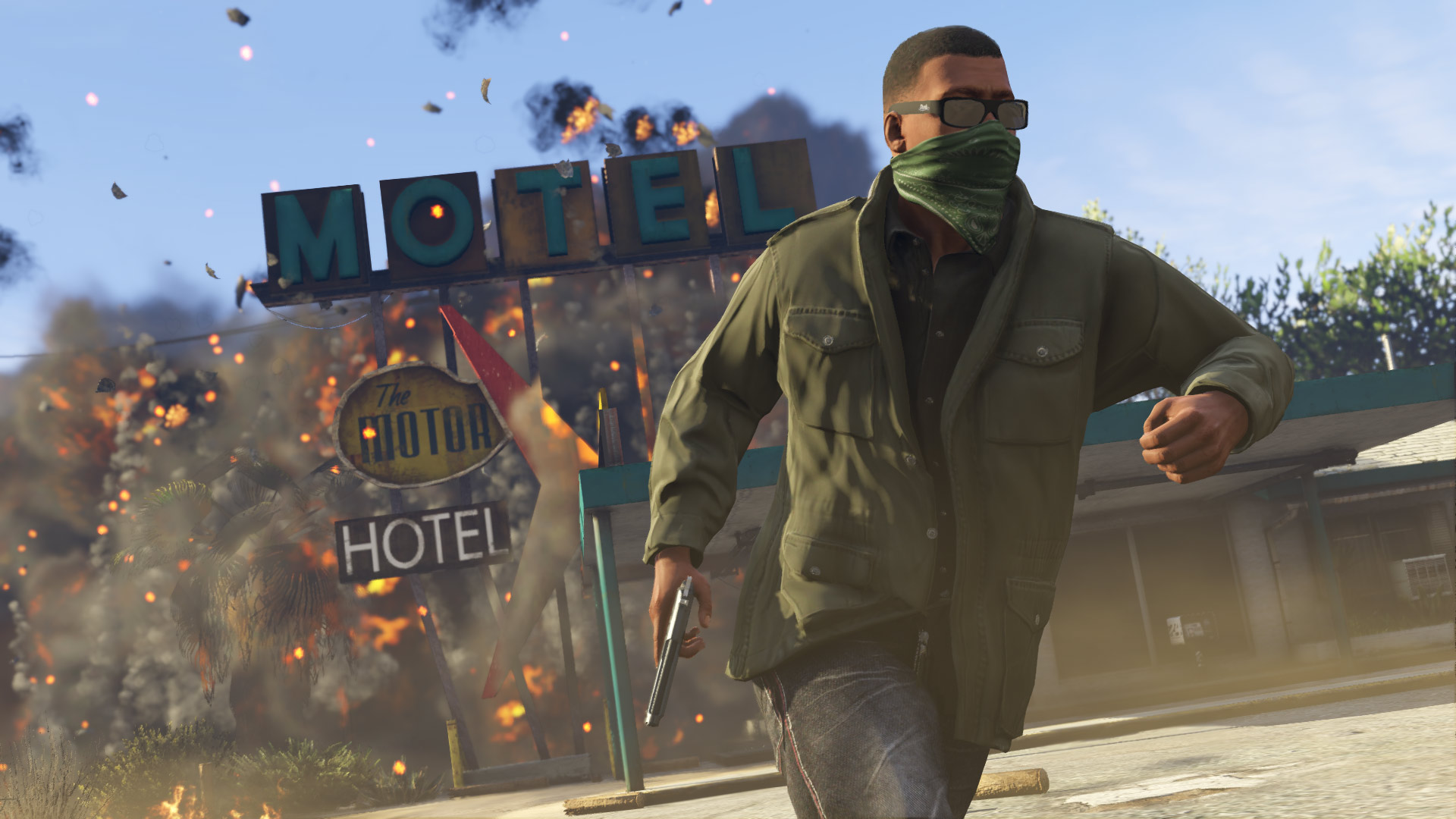 An image of a character from Grand Theft Auto V running away from an explosion.