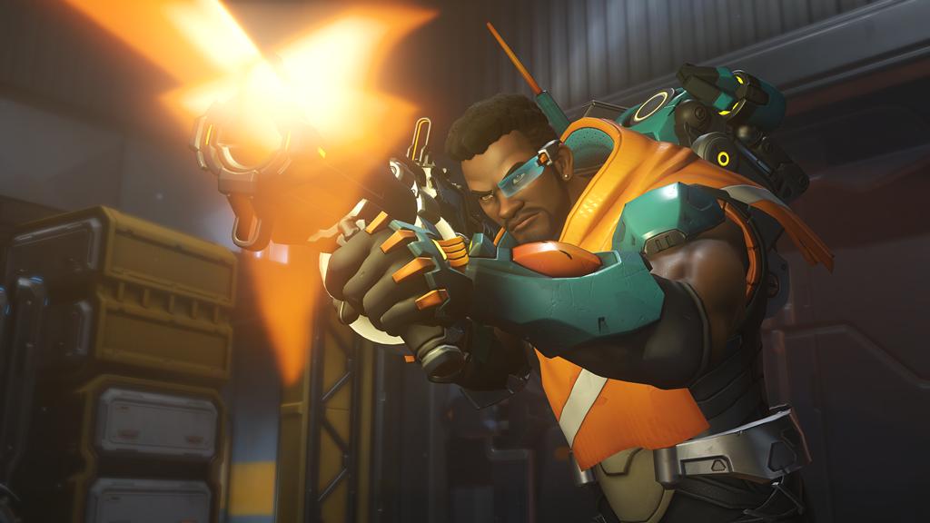 Baptiste Overwatch hero firing primary weapon
