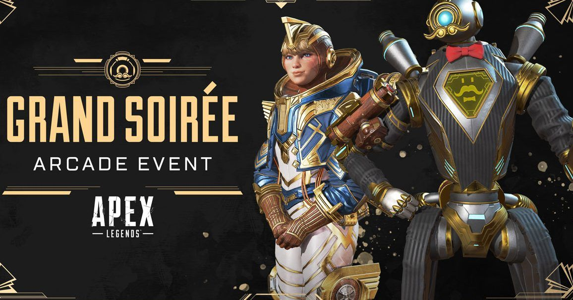 Apex Legends Grand Soirée Arcade event image with Pathfinder and Wattson skins