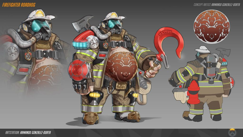 Firefighter Roadhog Overwatch skin concept