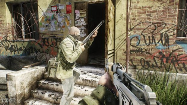 An image of Escape from Tarkov characters searching a building.