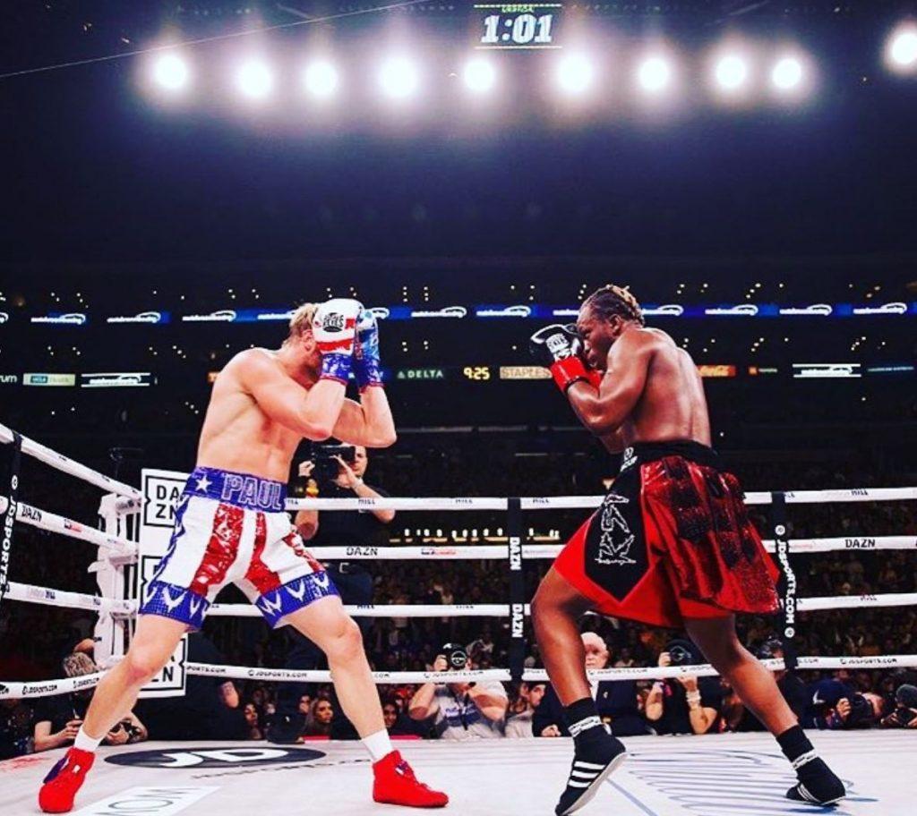 Logan Paul and KSI boxing in Los Angeles in November 2019.