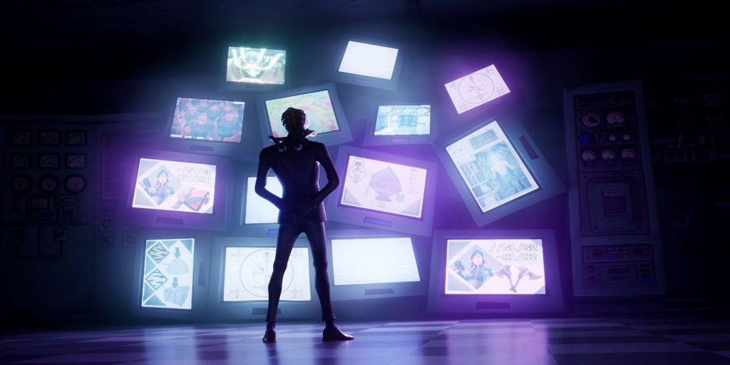 Fortnite loading screen showing a character watching a wall of screens.