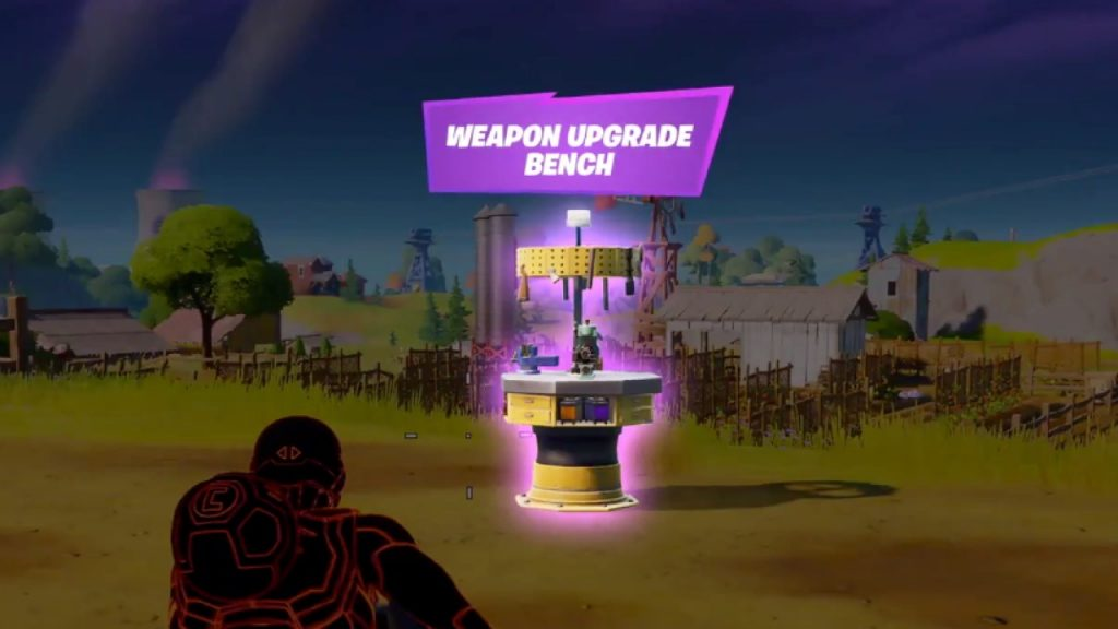 Fortnite player approaching a Weapon Upgrade Bench