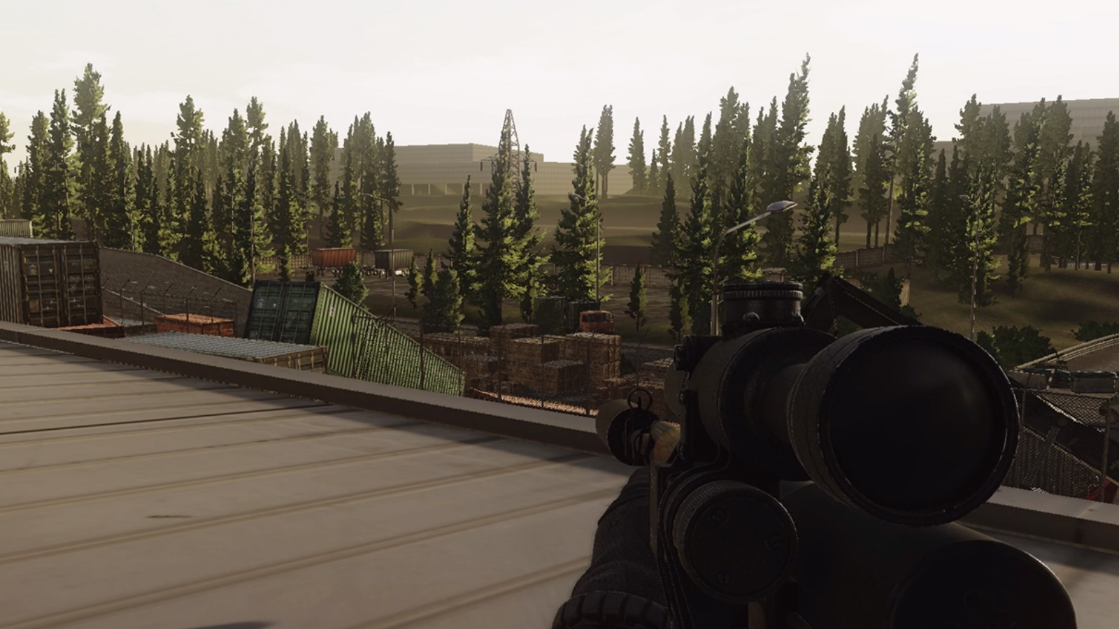 Exit camping in Escape from Tarkov with a sniper rifle on top of a roof