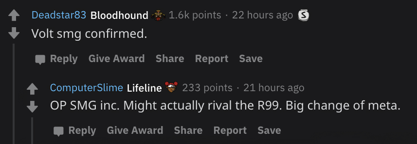 Discussion on the Apex Legends subreddit.