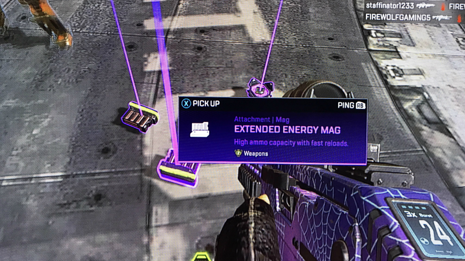 Apex Legends player looking at Extended Energy Mags
