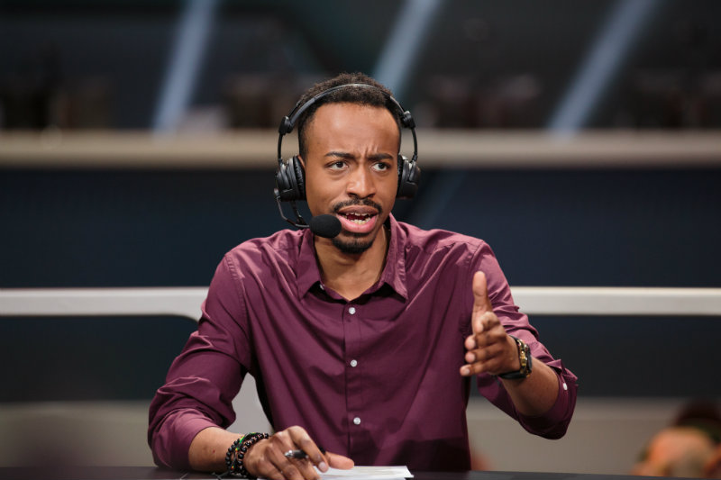 Overwatch League host Malik Forte looks confused at comments made on the desk