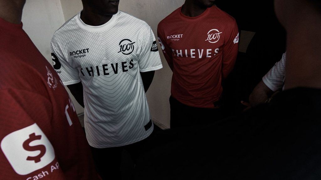 100 Thieves 2020 jerseys in red and white.