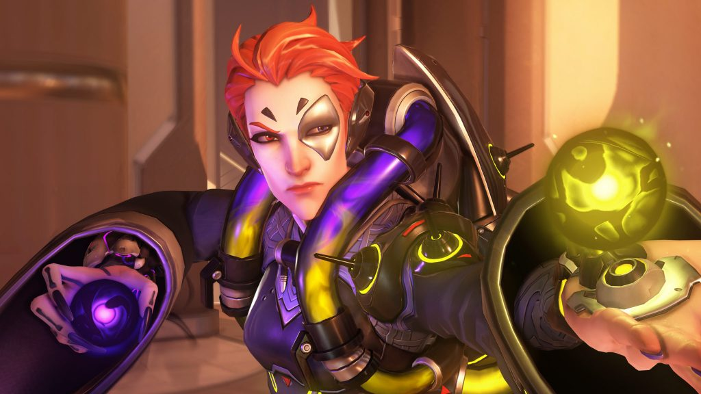 Overwatch hero Moira preparing for a team fight on Oasis.
