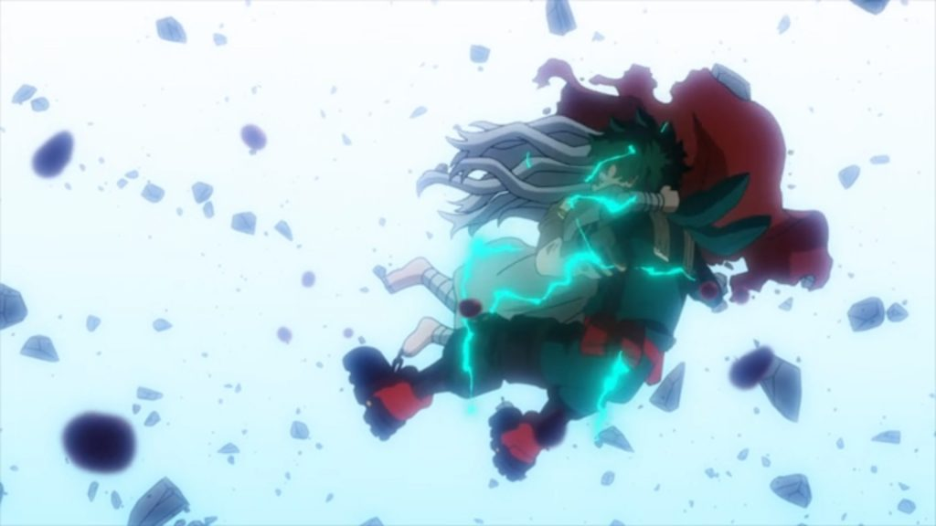 Deku saves Eri in the middle of a battle with Overhaul in My Hero Academia