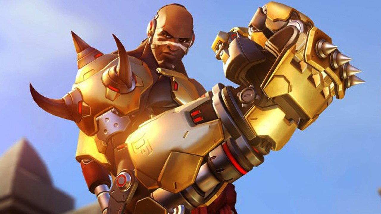 Overwatch DPS hero Doomfist taunts on Temple of Anubis