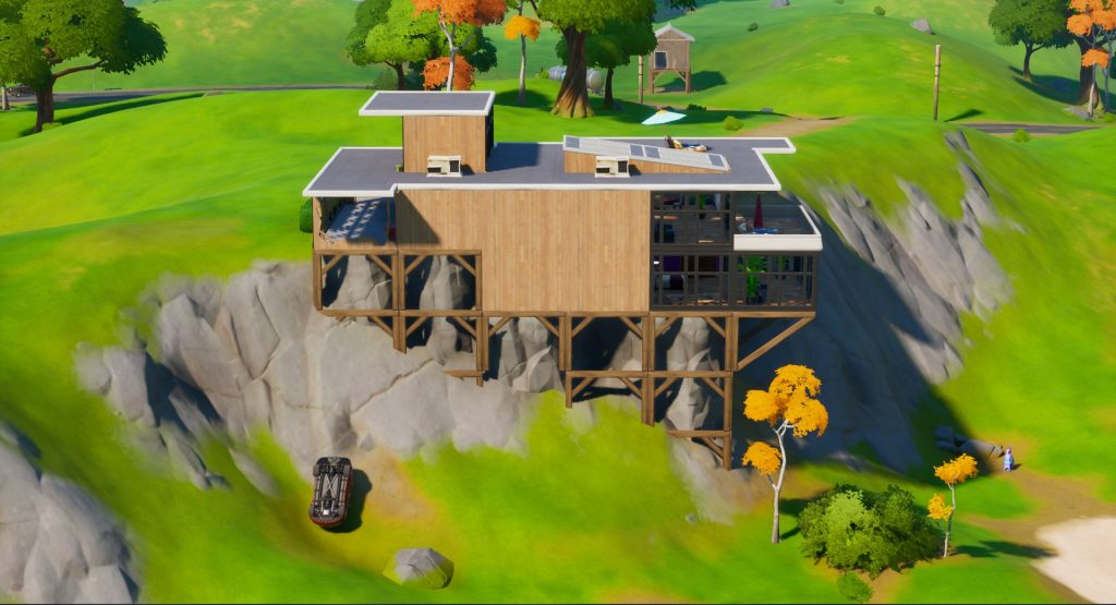 Fortnite's Fancy View house sitting on a cliff.